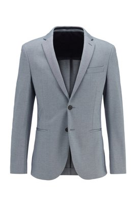 Slim-fit jacket in micro-patterned stretch jersey, Light Blue