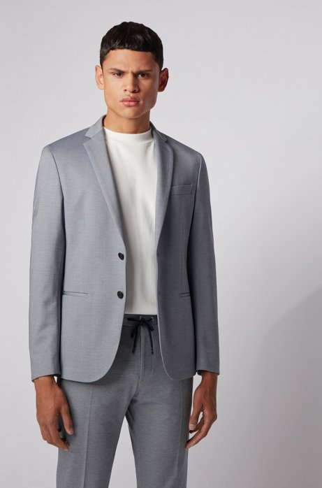 Slim-fit jacket in micro-patterned stretch jersey, Blue