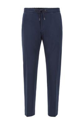 Slim-fit broek met tailleband met trekkoord, Donkerblauw