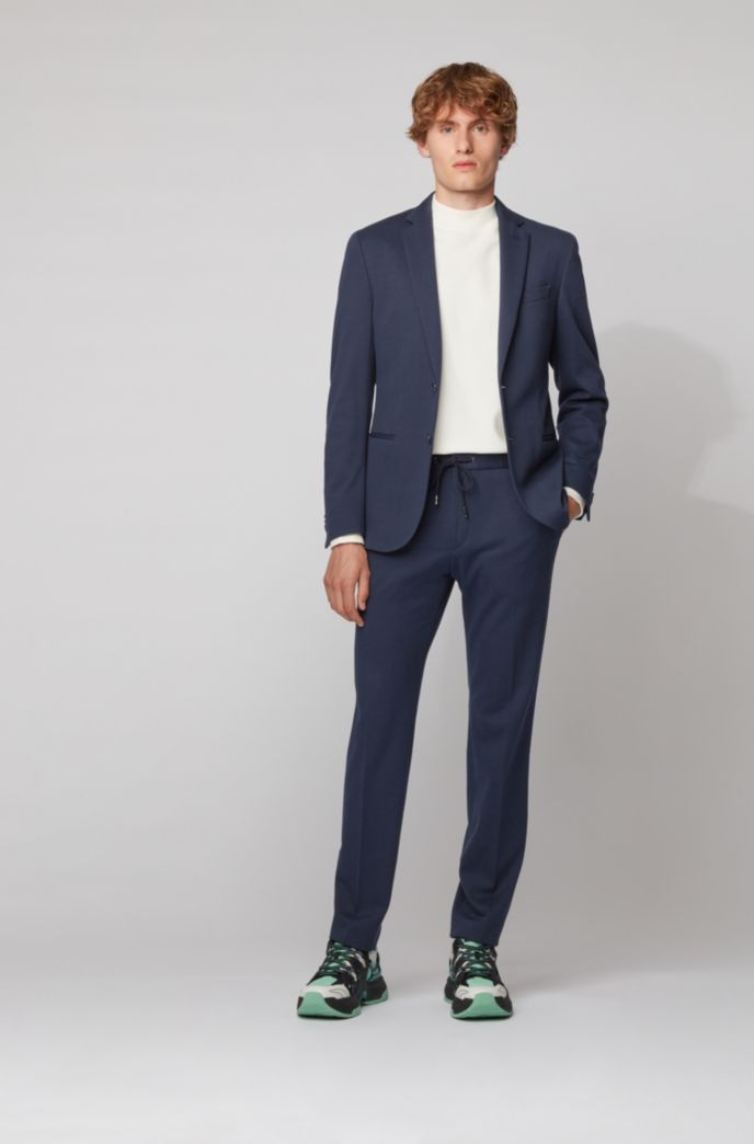 Slim-fit trousers with drawstring waistband