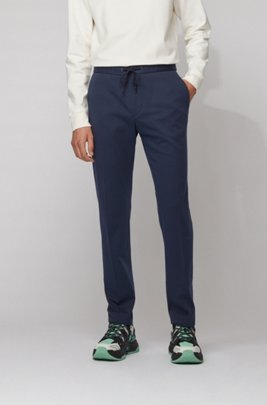 Slim-fit trousers with drawstring waistband, ダークブルー