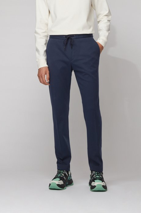 Slim-fit trousers with drawstring waistband, Dark Blue