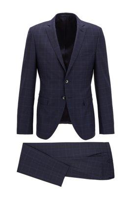 Costume Extra Slim Fit en sergé de laine vierge à carreaux, Bleu foncé
