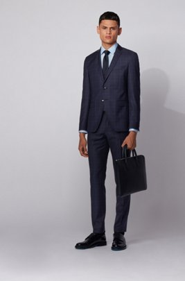 Extra-slim-fit suit in checked virgin wool serge, Dark Blue