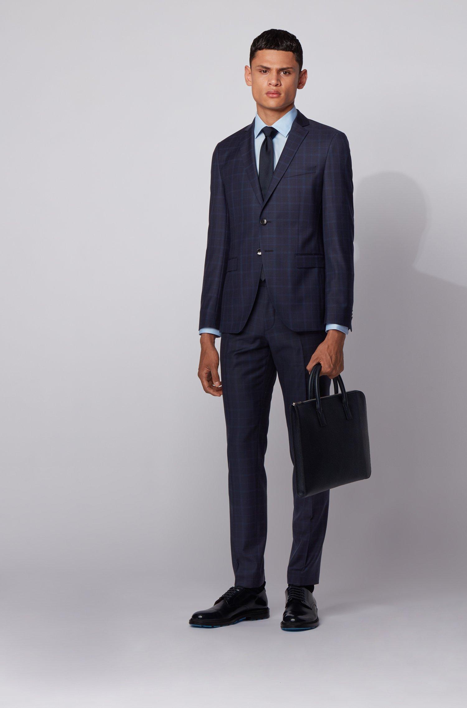Extra-slim-fit suit in checked virgin wool serge, Dark Blue