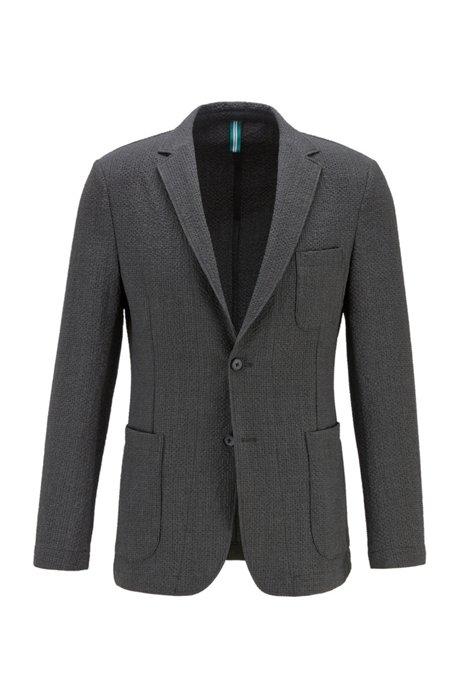 Slim-fit jacket in melange seersucker fabric, Light Grey