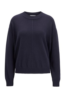 Oversized-fit cotton-blend sweater in mixed structures, Dark Blue