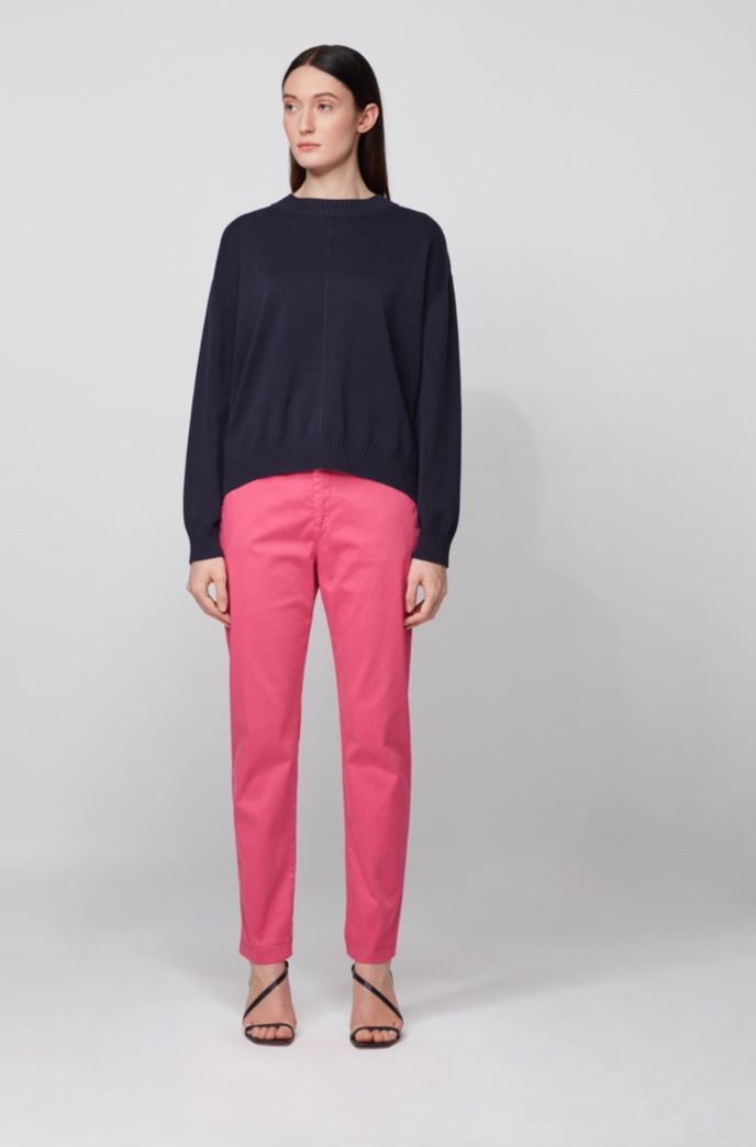 Oversized-fit cotton-blend sweater in mixed structures