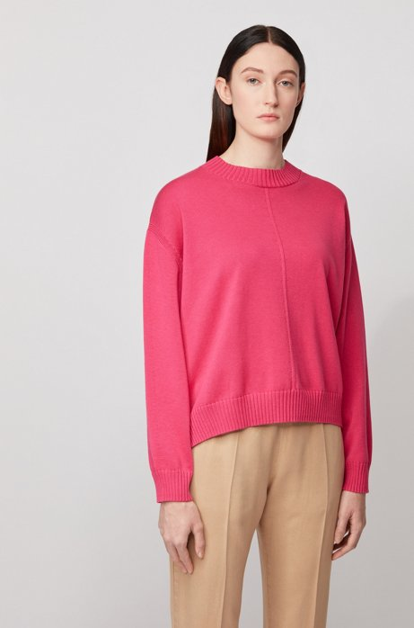 Oversized-fit cotton-blend sweater in mixed structures, Pink
