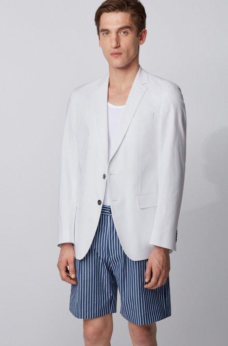 Slim-Fit Sakko aus Stretch-Baumwolle mit dezentem Muster, Weiß