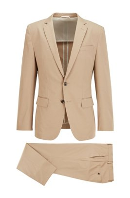 Costume Slim Fit en twill de coton stretch, Beige