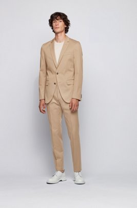 Slim-fit suit in stretch-cotton twill, Beige