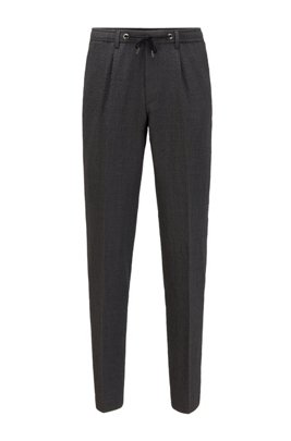 Slim-fit trousers in seersucker fabric with drawstring waistband, Light Grey