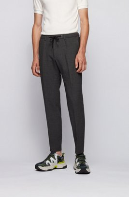 Slim-fit broek van seersuckermateriaal met tailleband met trekkoord, Lichtgrijs