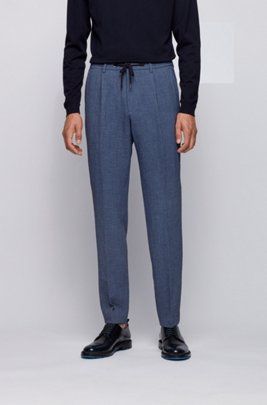 Slim-fit trousers in seersucker fabric with drawstring waistband, Dark Blue