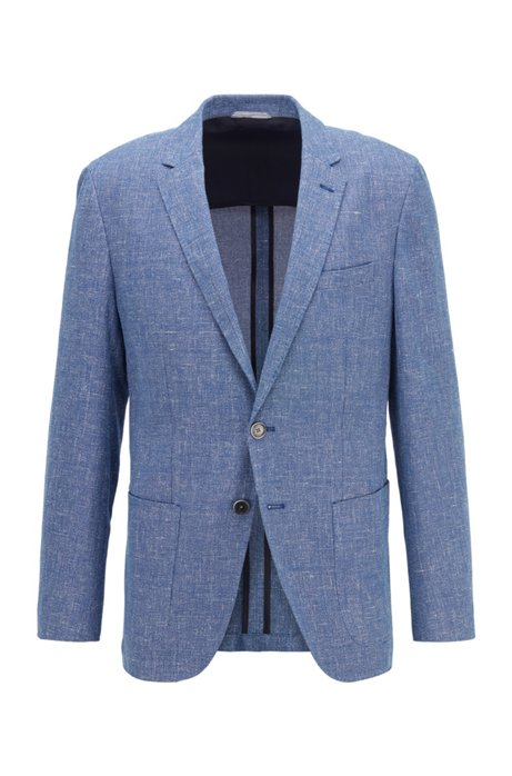Slim-fit jacket in micro-patterned cotton and linen, Light Blue