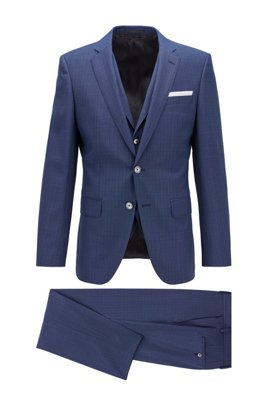 Slim-fit three-piece suit in patterned virgin wool, ライトブルー