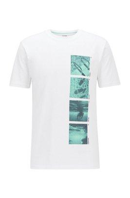 T-shirt entièrement recyclable en coton à imprimé photographique, Blanc