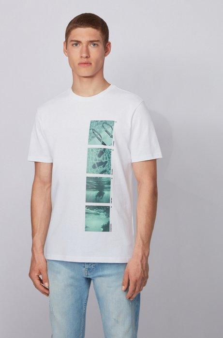 Komplett recycelbares T-Shirt aus Baumwolle mit Foto-Print, Weiß