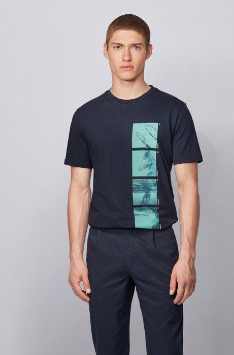 Komplett recycelbares T-Shirt aus Baumwolle mit Foto-Print, Dunkelblau