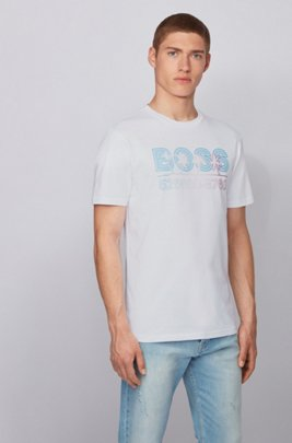 T-shirt en jersey de coton entièrement recyclable à logo imprimé, Blanc