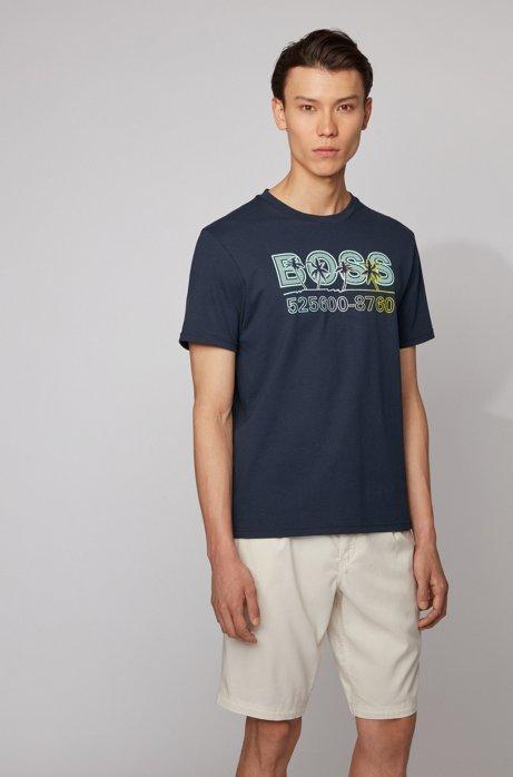 Komplett recycelbares T-Shirt aus Baumwoll-Jersey mit Logo-Print, Dunkelblau