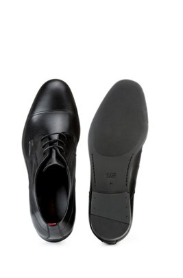 Polished-leather Derby shoes with stitch detailing, Black