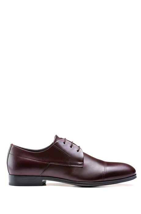 Polished-leather Derby shoes with stitch detailing, Dark Red