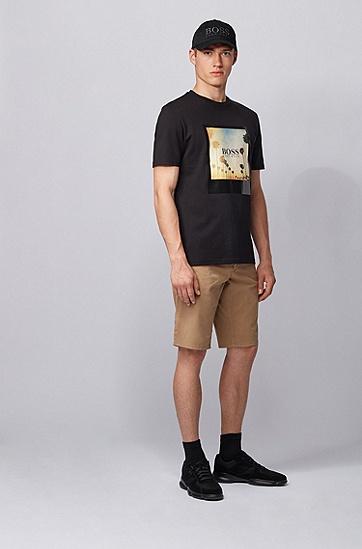 夏日主题印花可回收棉质 T 恤,  001_黑色