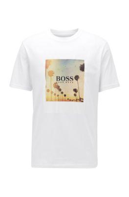 Volledig recyclebaar T-shirt van katoen met zomerse print, Wit