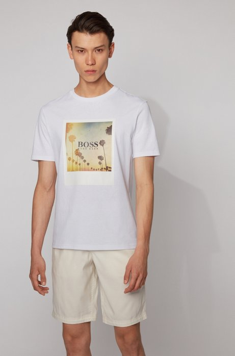 T-shirt completamente riciclabile in cotone con stampa ispirata all'estate, Bianco