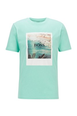 Fully recyclable T-shirt in cotton with summer-themed print, Light Green