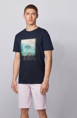 Fully recyclable T-shirt in cotton with summer-themed print, Dark Blue