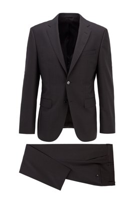 Regular-fit suit in virgin wool with engineered stripes, Black