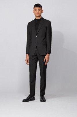 Costume Regular Fit en laine vierge à rayures, Noir