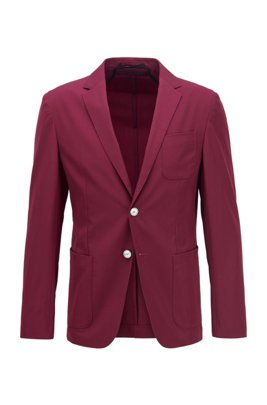 Slim-fit jacket in a stretch-wool blend, Dark pink