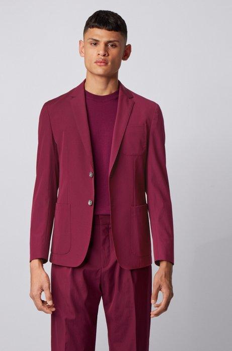 Slim-fit jacket in a stretch-wool blend, Dark pink