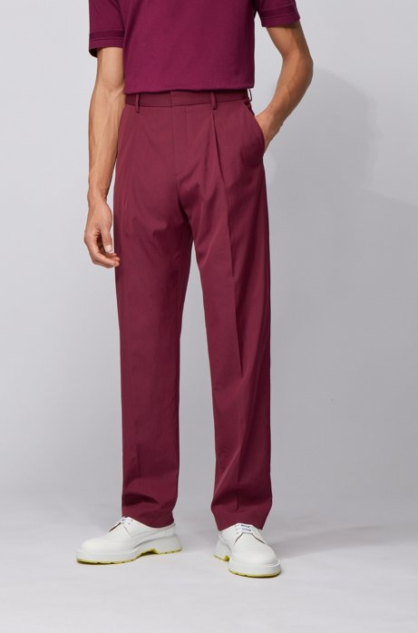 Relaxed-fit trousers in a stretch-wool blend, Dark pink