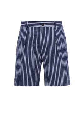 Relaxed-fit shorts in striped cotton with cord trim, Dark Blue