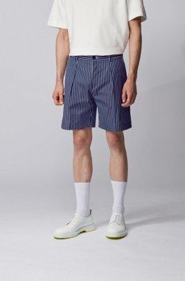 Relaxed-fit short van gestreepte katoen met koorddecoratie, Donkerblauw