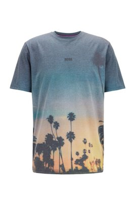 Lightweight T-shirt with all-over photographic print, ブラック