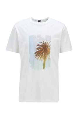 Pima-cotton T-shirt with collection-themed photographic print, ホワイト
