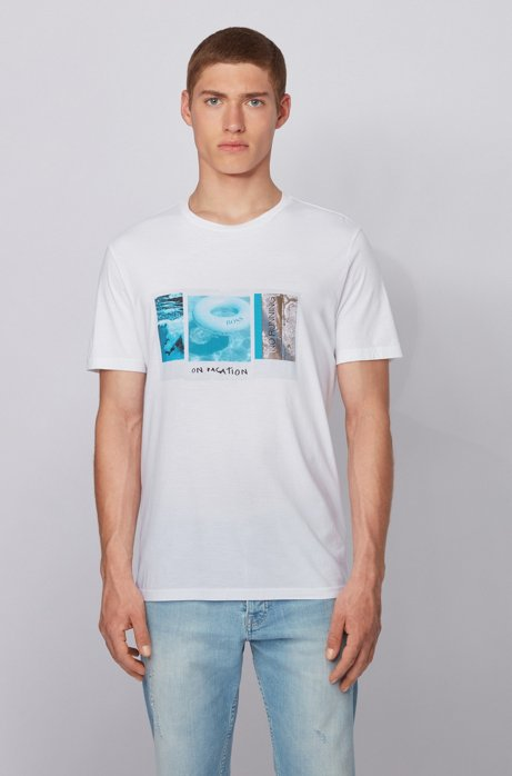 Pima-cotton T-shirt with collection-themed photographic print, White