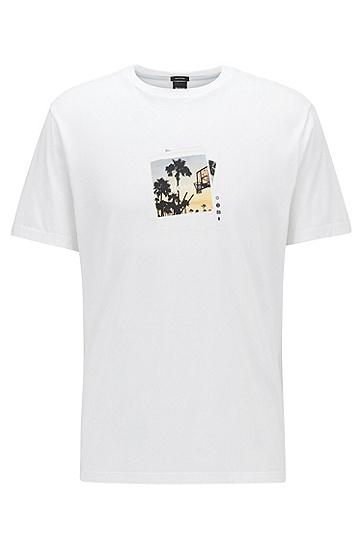 印花棉质圆领T恤,  103_天然色