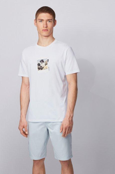 Camiseta de algodón Pima con estampado fotográfico de la colección, Blanco
