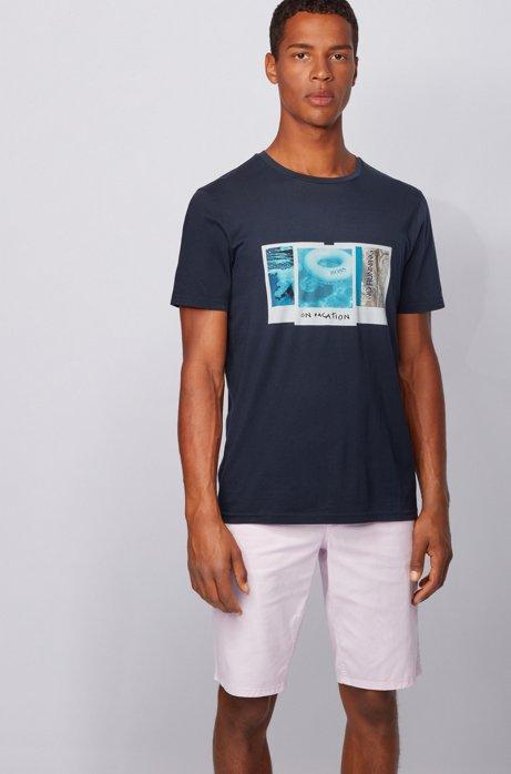 Camiseta de algodón Pima con estampado fotográfico de la colección, Azul oscuro