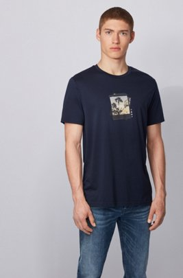 Pima-cotton T-shirt with collection-themed photographic print, ダークブルー