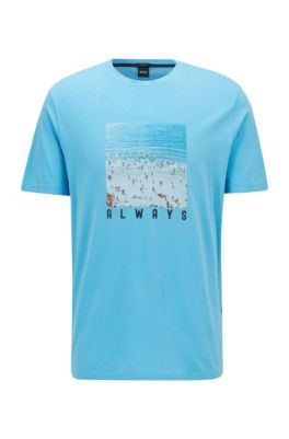 T-Shirt aus Jersey mit Foto-Print aus der Kollektion, Türkis