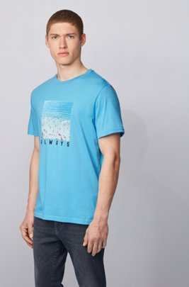Pima-cotton T-shirt with collection-themed photographic print, ターコイズ