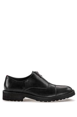 Chaussures en cuir à enfiler avec fermetures éclair, Noir